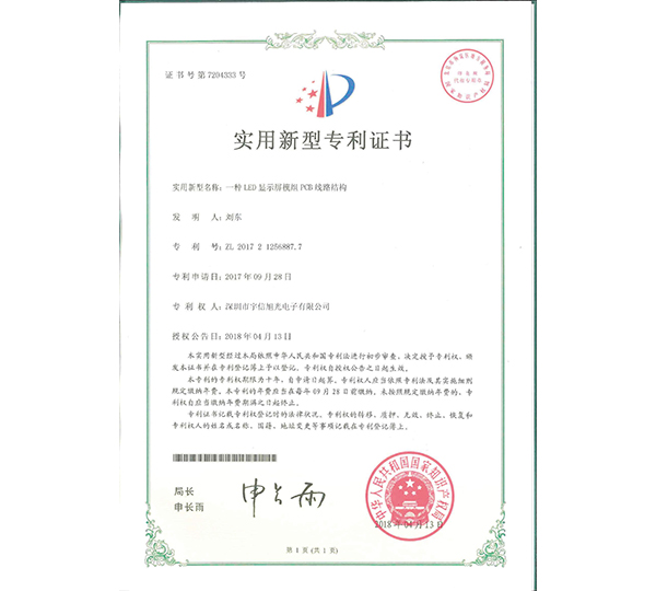 LED Video Wall Certificate